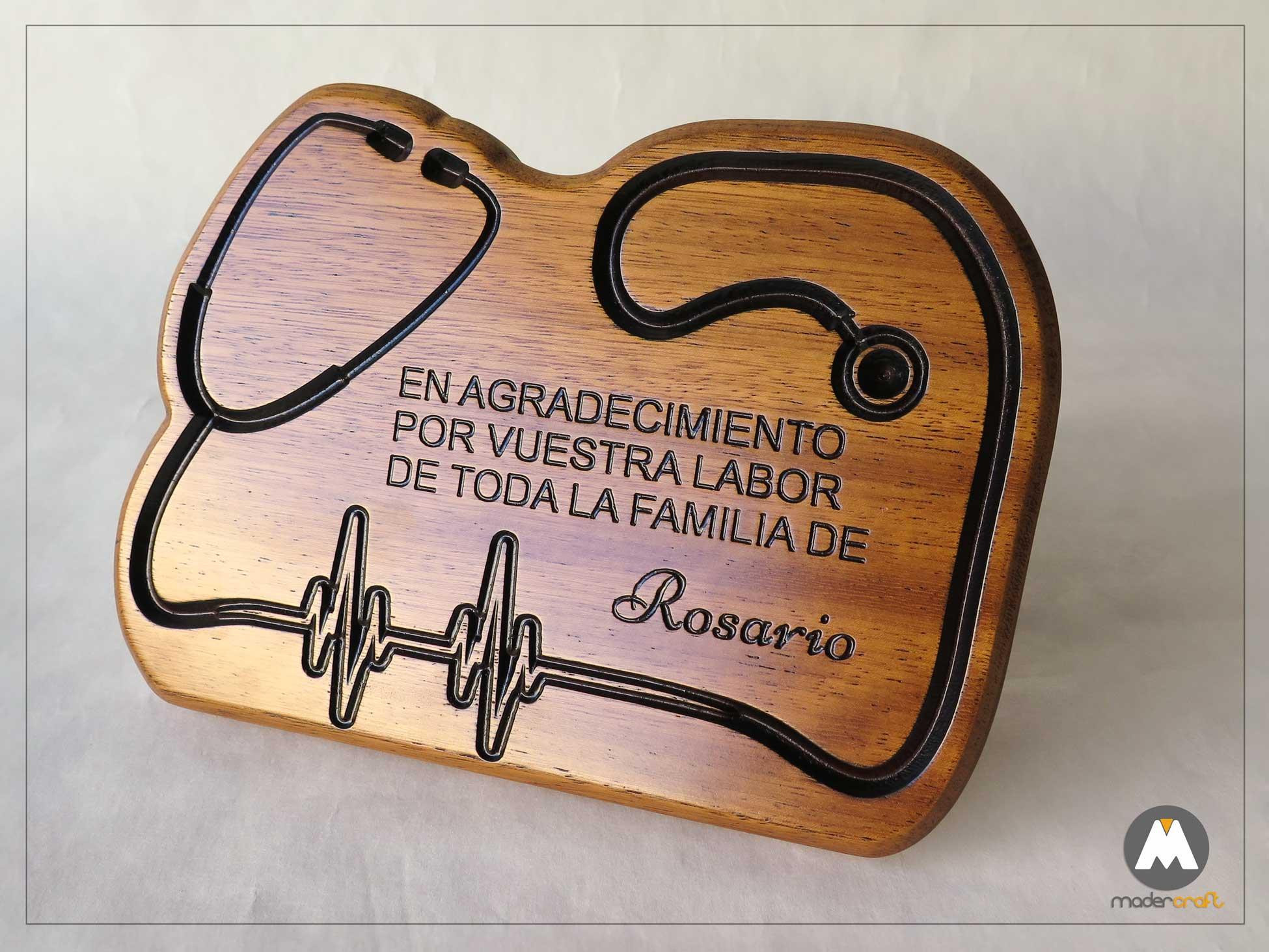 Placa de Madera de Iroko. Agradecimiento Médico. Tallada para regalo especial y personalizado un homenaje de un paciente agradecido. ATS Hospital
