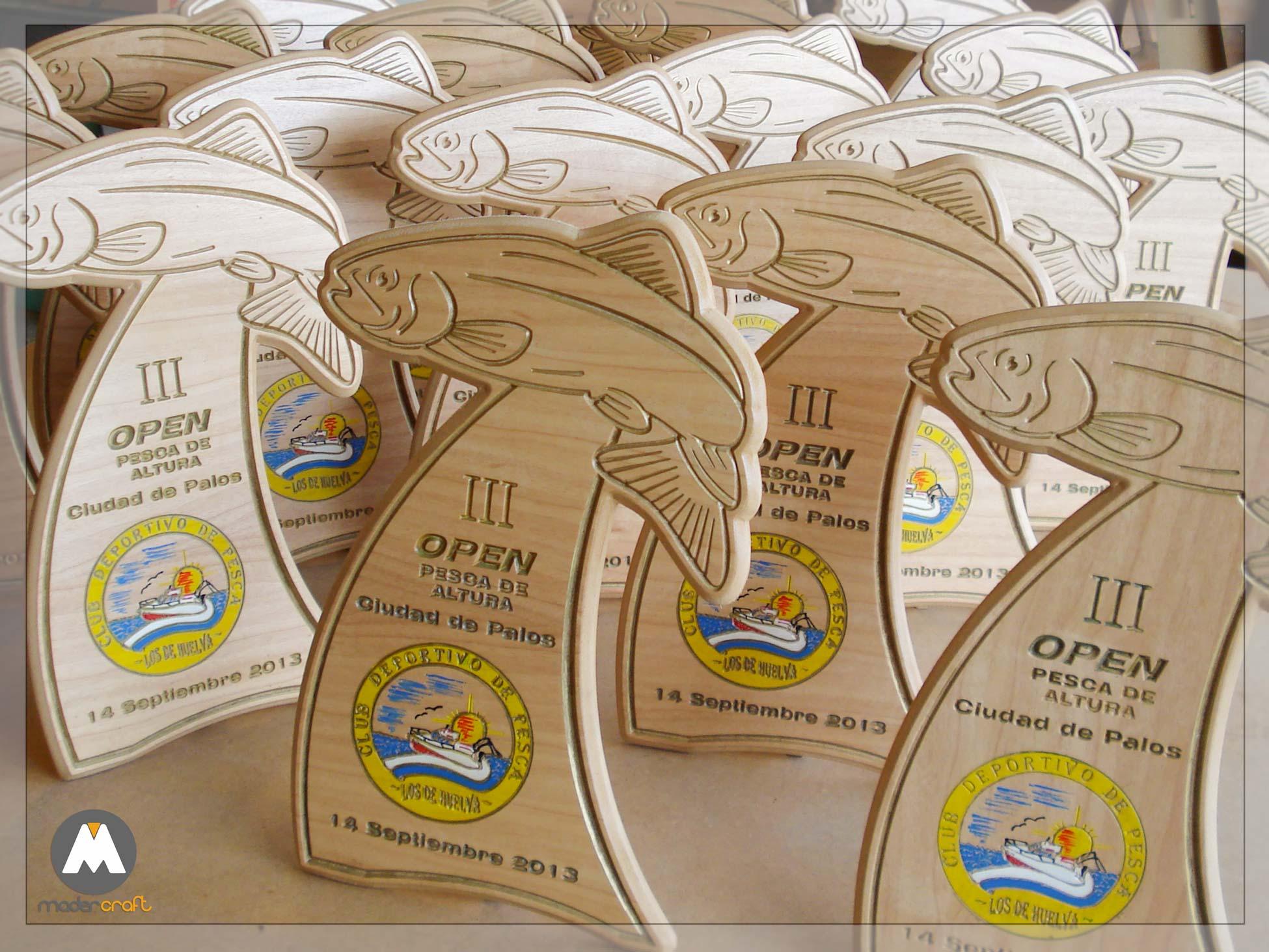Placa Madera Deportiva Pesca de Altura Ciudad de Palos de la Frontera. Trofeo. Club deportivo Agradecimiento Homenaje. Barco playa verano pescado vela open.