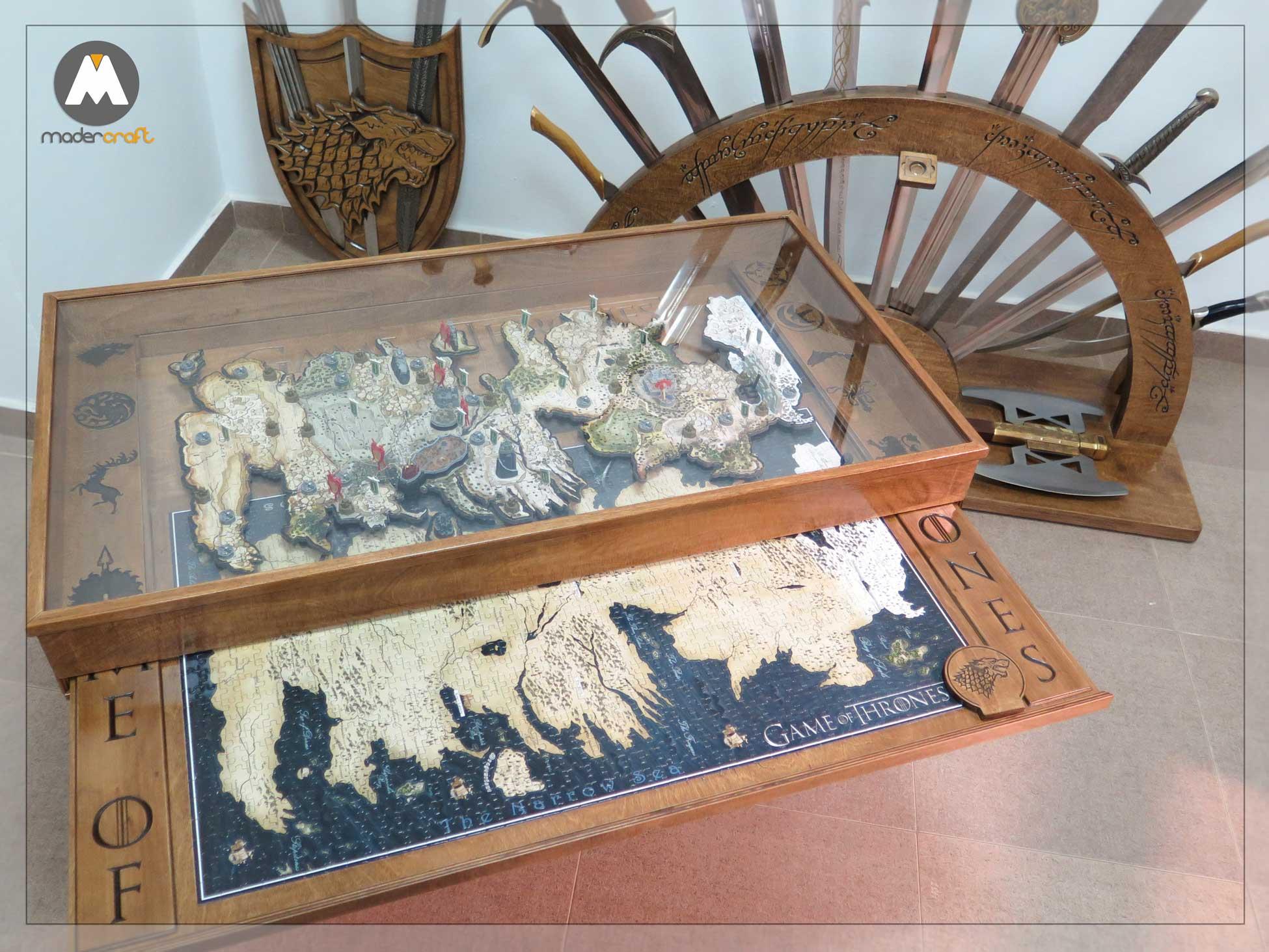 Espadero y Mesa de Coleccionista. Espadas y hacha de Gimli, Puzzle 4D. Señor de los anillos y Juego de Tronos, casa stark. Mesa deslizante