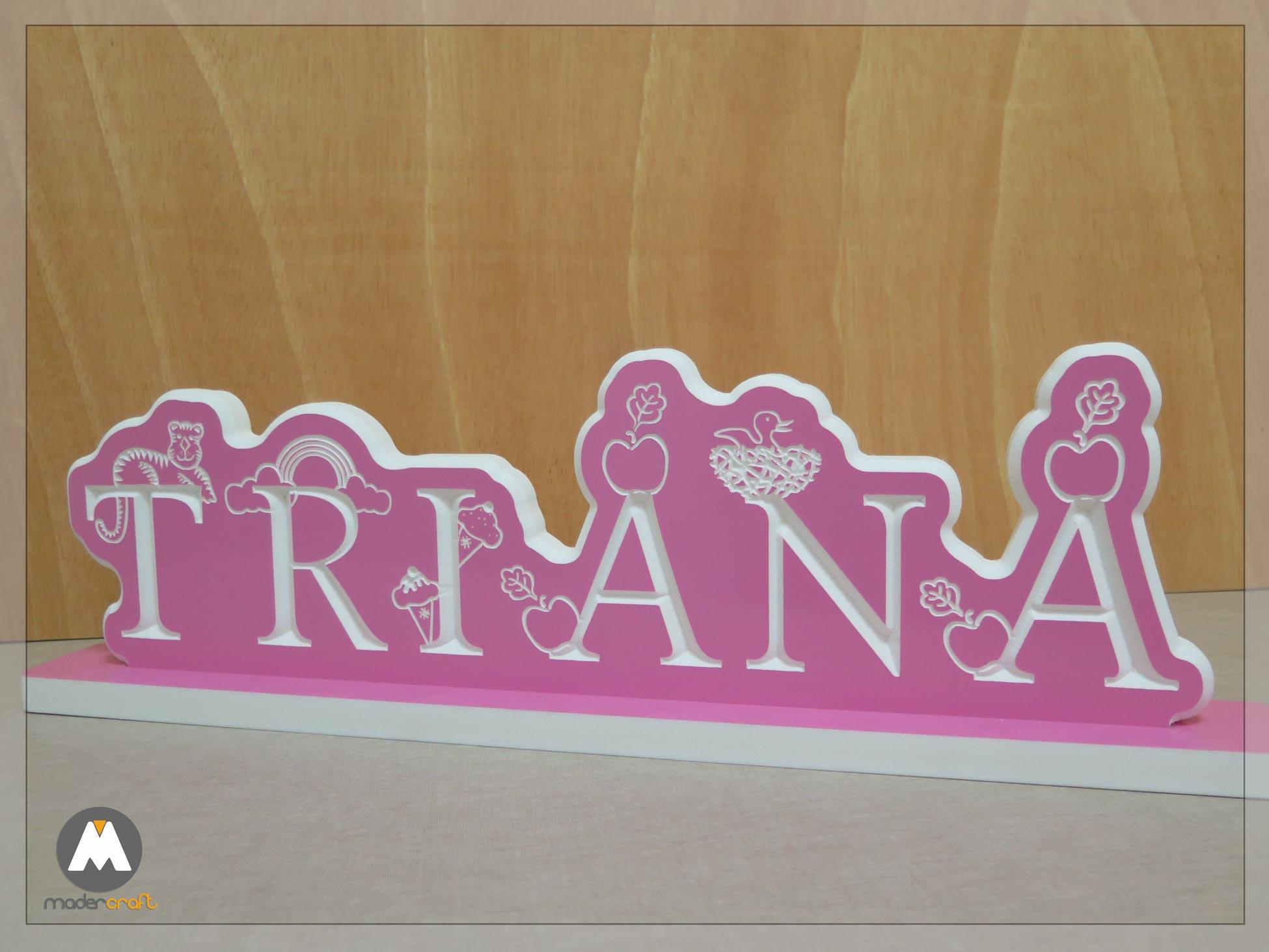 Placa PVC Nombre Infantil Triana, personalizada colores rosa niña vinilo tallada motivo letras disney arcoiris manzana alfabeto inglés.