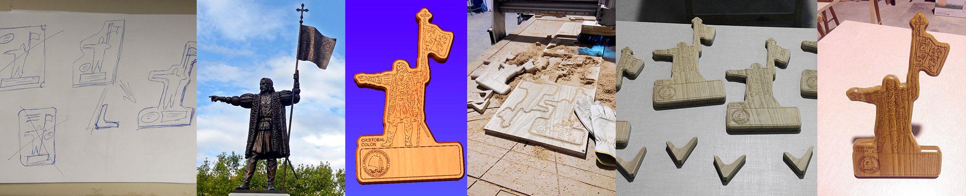 Proceso fabricación placas conmemorativas desde el boceto en papel, fotografía real a estatua Cristobal Colon Huelva, digitalizar, simular, simulación, tallado y corte CNC, acabado, barnizado