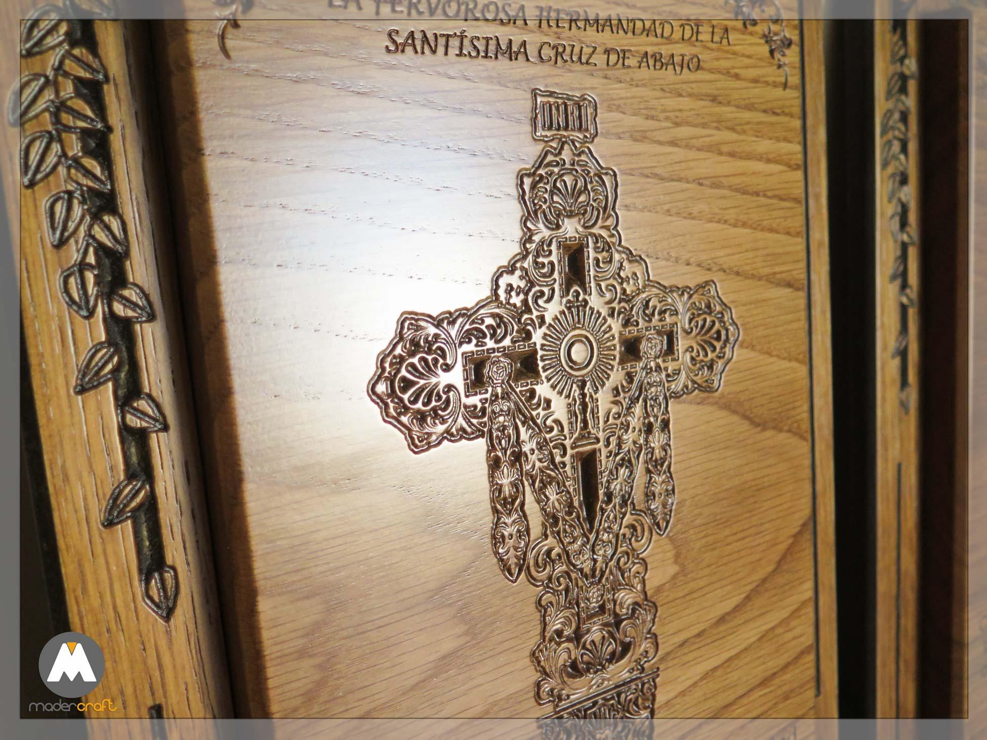 Placa Madera Roble Religiosa Cruz Abajo Paterna del Campo, cruces, iglesia, procesión, agradecimiento, homenaje, tallada